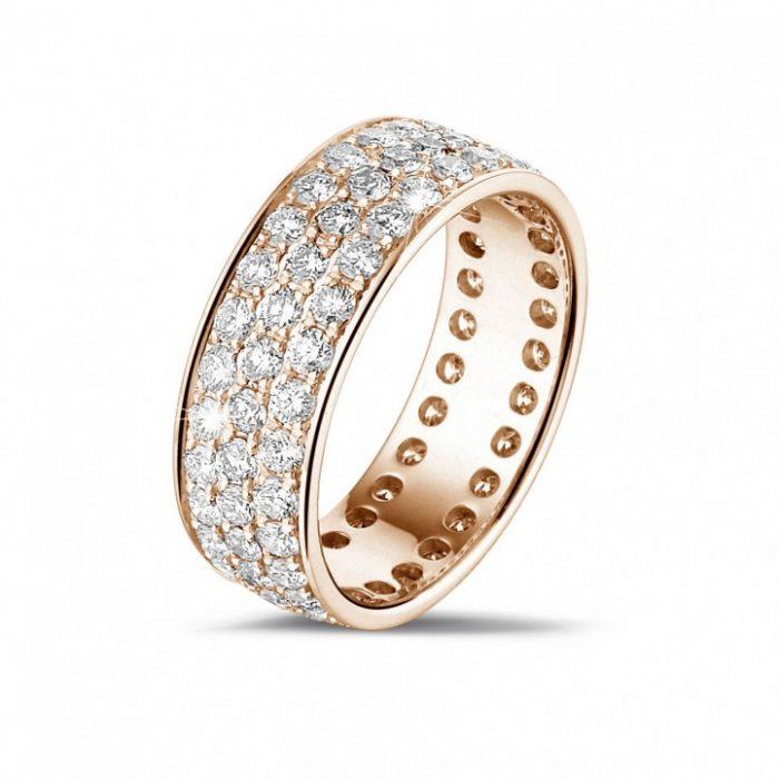 Hochzeitsring aus Rotgold mit Diamanten