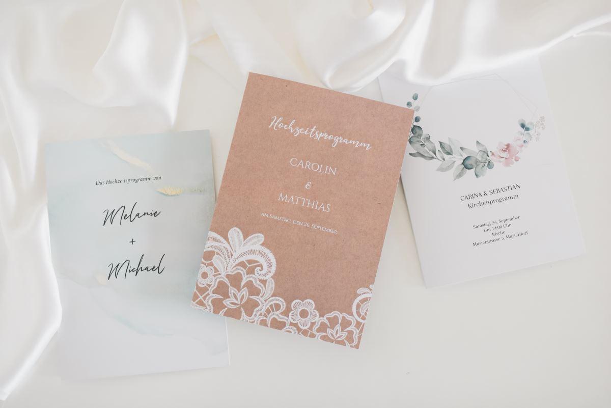 Programmhefte zur Hochzeit von Honeymoments